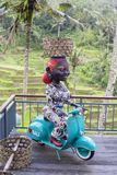 Figure of a dark-skinned woman sits on a motorcycle Vespa with a wicker basket on her head in cafe near rice terraces of Tegallala. BALI, INDONESIA - MARCH 25 stock photography