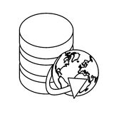 Figure database globe connections network design. Illustration icon Royalty Free Stock Photo