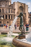 Figure de Turia Fountain en Plaza de la Virgen, Valencia, España Imagen de archivo libre de regalías