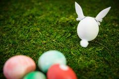 Figure del coniglietto di pasqua ed uova di Pasqua tinte variopinte su muschio verde Fotografia Stock Libera da Diritti