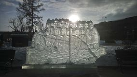 Figure del ghiaccio nel parco fotografia stock