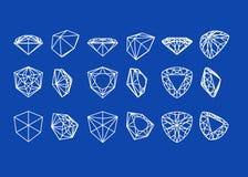 Figure dell'accumulazione del diamante Wireframe illustrazione di stock