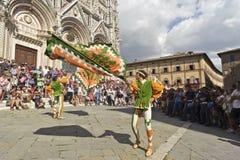 Figure della vicinanza della città della selva che ondeggiano le loro bandiere Fotografie Stock