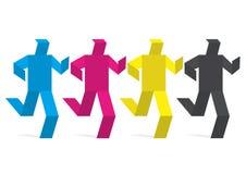 Figure di carta colorate nei colori della stampa Fotografia Stock Libera da Diritti
