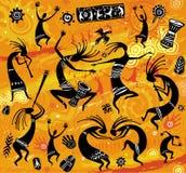 Figure di dancing in uno stile primitivo royalty illustrazione gratis