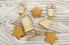 Figure di legno dei cervi di Natale Fotografia Stock