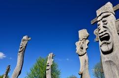 Figure di legno, museo Gifhorn dell'aria aperta Immagine Stock