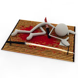 Figure did the Seppuku 3. A figure did the Seppuku now lying on the floor Royalty Free Stock Image