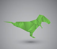 Figure of a dinosaur in origami style isolated on grey background. Vector illustration. Royalty Free Stock Photo