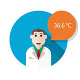 Figure doctor and speech bubble. Flat style.  Royalty Free Stock Photos