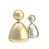 Figure dorate e d'argento simboliche dell'icona dell'utente Immagini Stock
