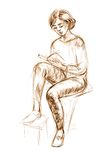 Figure drawing in pencil. Academic figure drawing of a young girl. Hand-drawing in pencil Royalty Free Stock Images