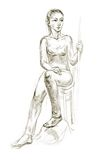 Figure drawing in pencil. Academic figure drawing of a young girl. Hand-drawing in pencil Royalty Free Stock Photos