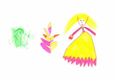 Figure drawn child colored markers on a white sheet of paper.  Royalty Free Stock Photos