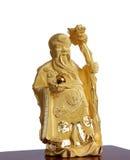 Figure du moine chinois de l'or d'isolement Photo stock