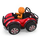 Figure in dune buggy. Elevated view of figure sat in red dune buggy, isolated on white background Stock Image