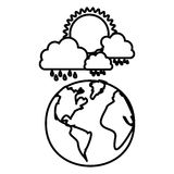 Figure earth planet with cloud rainning and sun. Illustraction design Royalty Free Stock Images