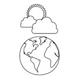 Figure earth planet with cloud and sun Royalty Free Stock Photos