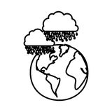 Figure earth planet with clouds rainning icon. Illustraction Royalty Free Stock Photography