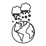 Figure earth planet with clouds snow icon. Illustraction design Royalty Free Stock Photo