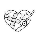 Figure earth planet heart with stethoscope and band aid icon Stock Photos