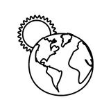 Figure earth planet with sun icon. Illustraction design Royalty Free Stock Images