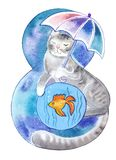 Figure eight in the form of fluffy cat. S with colorful umbrella and goldfish in the aquarium Royalty Free Stock Photos