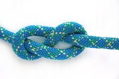Figure-eight knot. Tied on a blue rope Stock Images