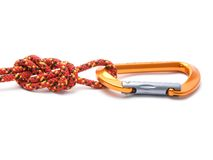 Figure eight knot with carabiner isolated on white. Royalty Free Stock Image