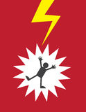 Figure Electrocuted. By lightning or shock Royalty Free Stock Photo
