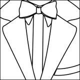 Figure elegant suit with tie bow icon Stock Photos