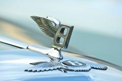 Figure-emblem Bentley Logos on a car cowl stock images