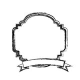 Figure emblem border ornamental with ribbon. Illustration Royalty Free Stock Images