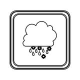 Figure emblem cloud rainning and snowing icon. Illustraction Royalty Free Stock Photo