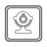 Figure emblem computer camera icon Royalty Free Stock Image
