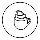 Figure emblem cup coffee with cream icon Stock Image
