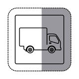 Figure emblem delivery car icon Royalty Free Stock Photos