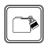 Figure emblem file with lock icon Stock Photos