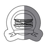 Figure emblem hamburger fast food icon Royalty Free Stock Photo
