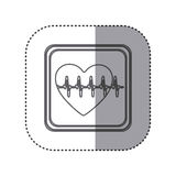 Figure emblem heartbeat icon Royalty Free Stock Photo