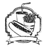 Figure emblem with hot dog, fries french and soda with ribbon Stock Image