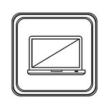 Figure emblem laptop icon Stock Photo
