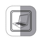 Figure emblem laptop technology icon Royalty Free Stock Image
