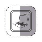 Figure emblem laptop technology icon. Illustration design Royalty Free Stock Image
