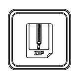 Figure emblem laptop zip document icon. Illustraction design Stock Photography