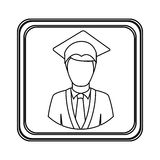 Figure emblem man graduation icon Royalty Free Stock Images