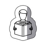 Figure emblem man to read a book icon. Illustraction design Stock Images