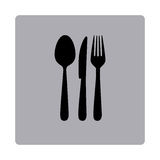Figure emblem metal cutlery icon Stock Photos