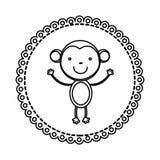 Figure emblem with monkey inside icon Stock Image