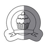 Figure emblem muffin with strawberry icon. Illustraction design Stock Images